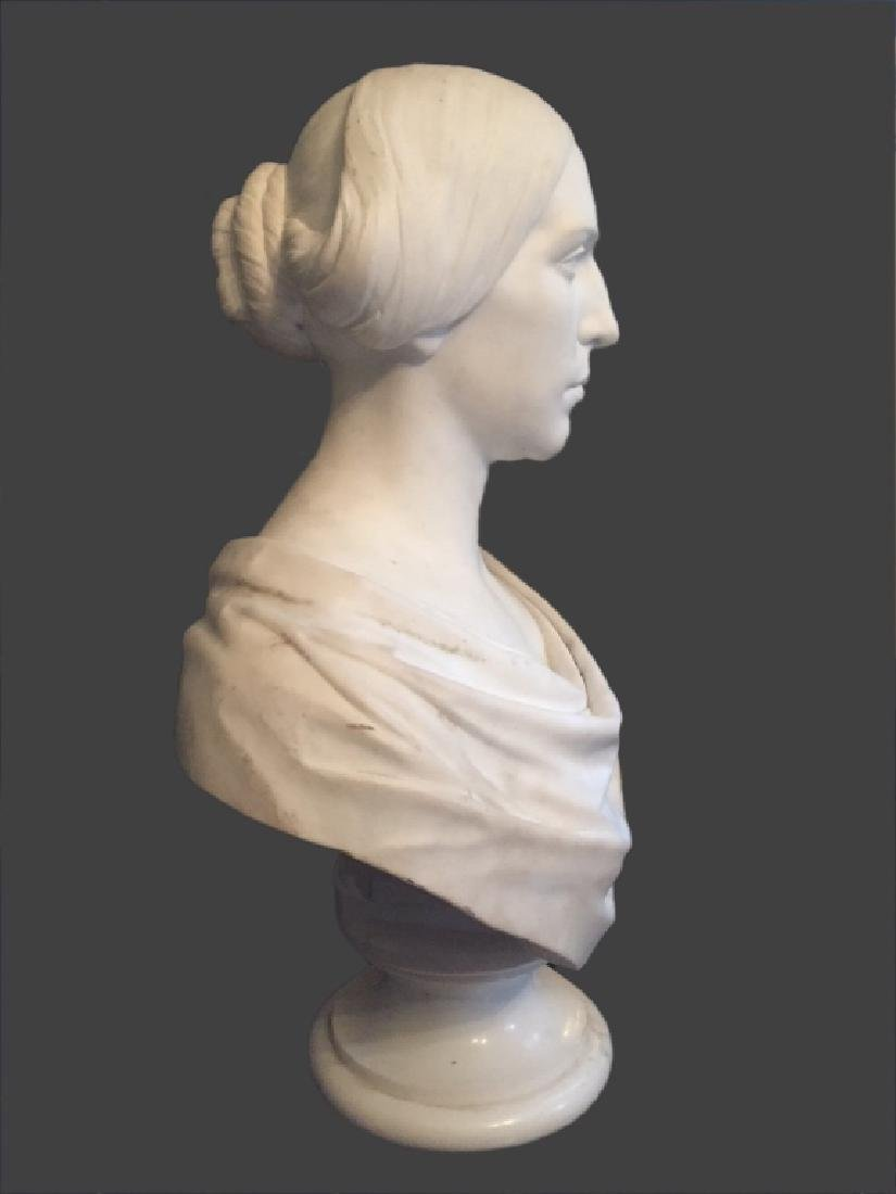 CLASSICAL LIFE SIZE MARBLE BUST, POSS. E.D. PALMER - 6