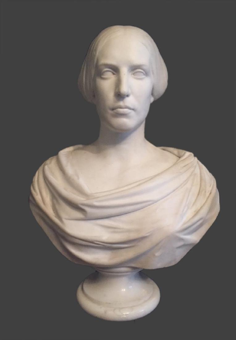 CLASSICAL LIFE SIZE MARBLE BUST, POSS. E.D. PALMER - 7