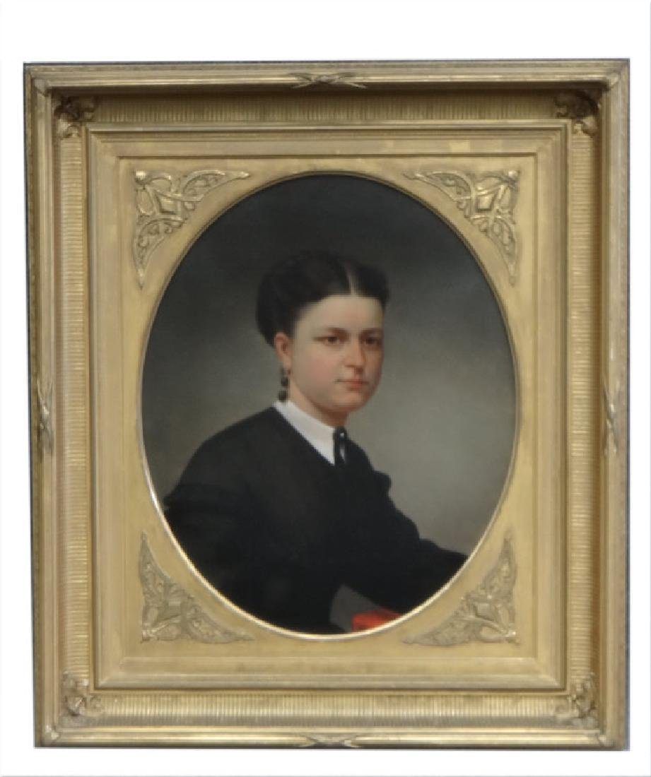"AMERICAN SCHOOL PORTRAIT OF A DETERMINED WOMAN 27"" X"