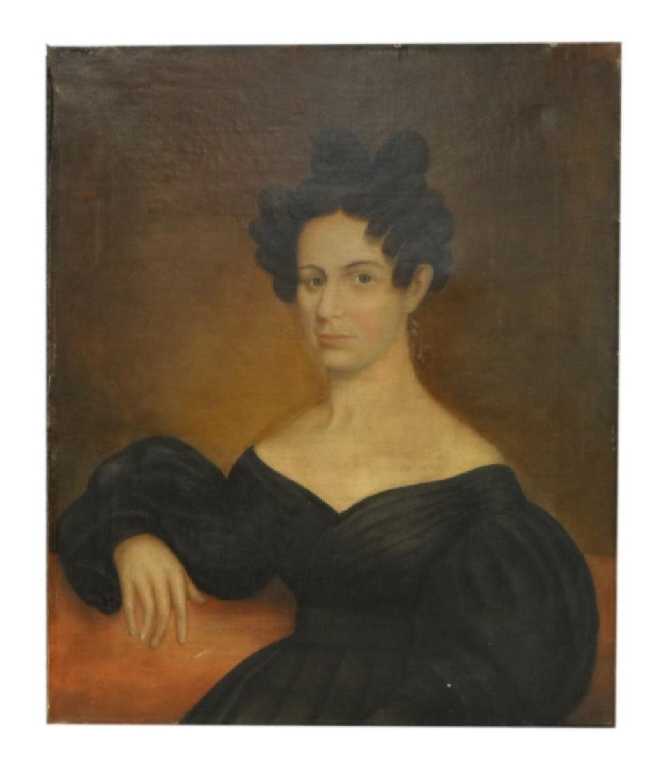 "AMERICAN SCHOOL PORTRAIT OF A WOMAN 30 1/2"" X 25 1/4"""