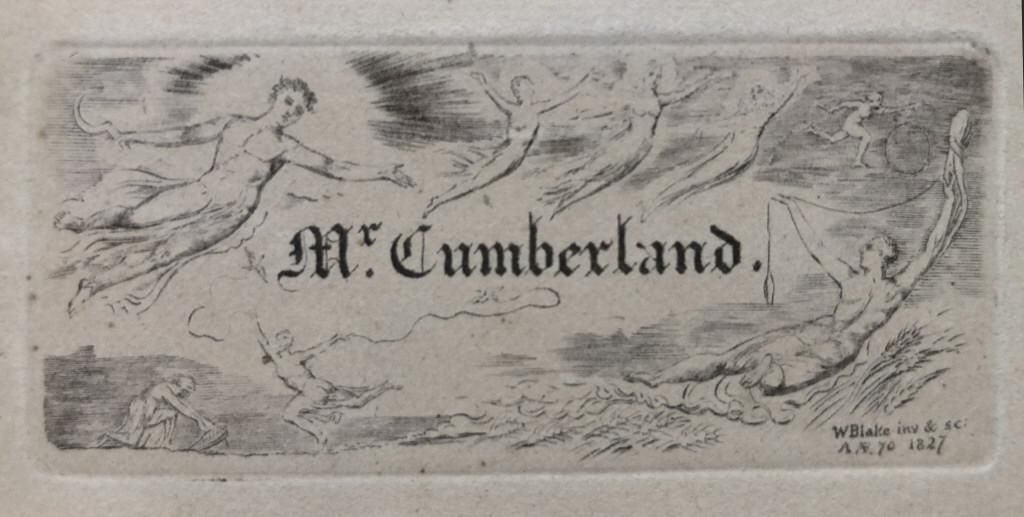 "WM BLAKE ETCHING, 1827 ""MR. CUMBERLAND"" 11"" X 13"""