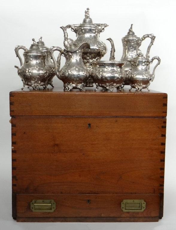 GORHAM 1854 COIN & STERLING TEA & COFFEE SERVICE IN