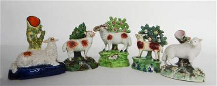 5 PCS. EARLY 19THC. STAFFORDSHIRE SHEEP 2 SPILL VASES &