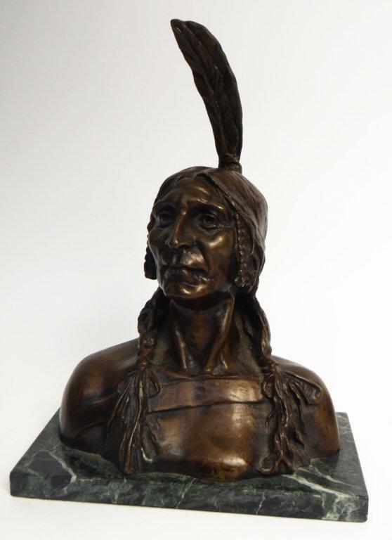 GIUSEPPE MORETTI, NATIVE AMERICAN BUST CAST BRONZE, R.