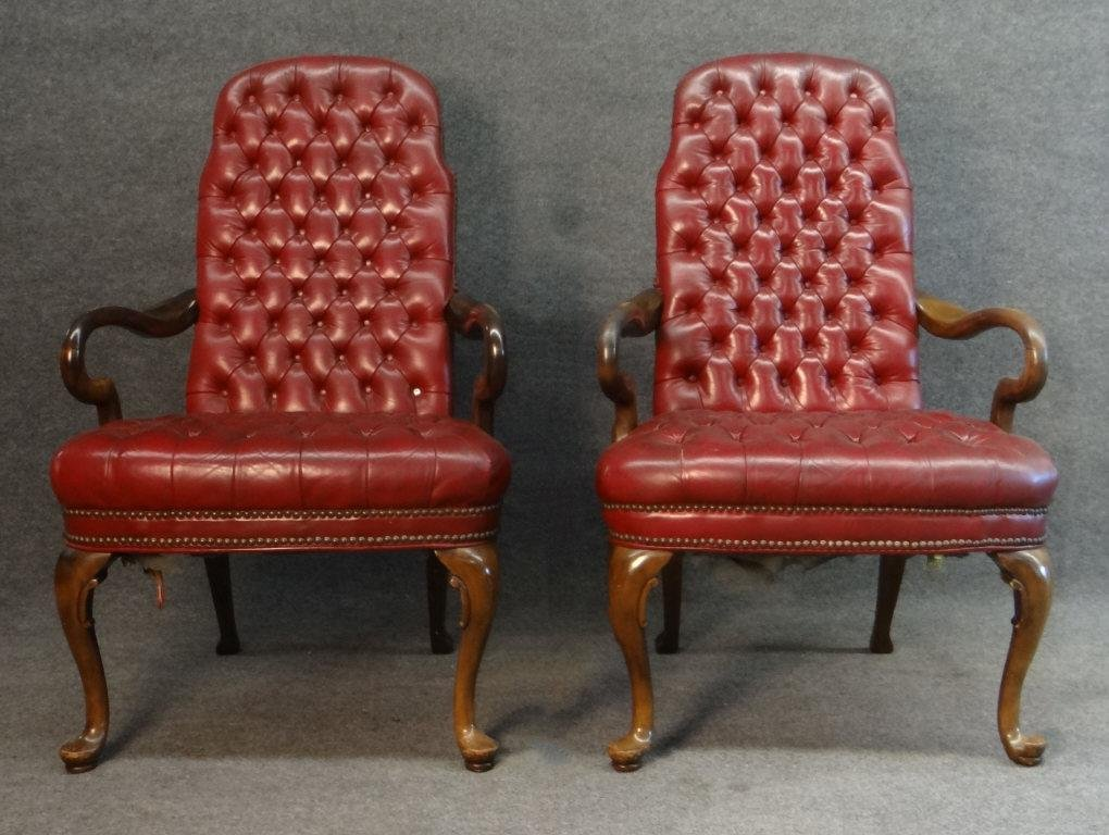 PR OF RED LEATHER  QUEEN ANNE STYLE ARM CHAIRS TUFTED