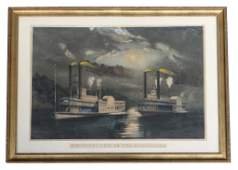 CURRIER  IVES MIDNIGHT RACE ON THE MISSISSIPPI LG