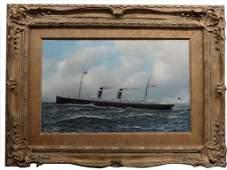 """ANTONIO JACOBSEN, 1905, SHIP PORTRAIT """"ST PAUL"""" STEAM"""