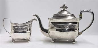 2 PCS WM  PETER BATEMAN STERLING SILVER TEA SET TEA