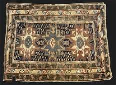 SEMI ANTIQUE LESGHI STAR CAUCASIAN AREA RUG 45 X 38