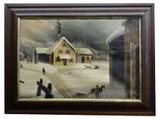 19THC AMERICAN SCHOOL WINTER FARM SCENE UNSGND 17