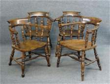 ASSEMBLED SET 4 ENGLISH 19THC WINDSOR ARM CHAIRS
