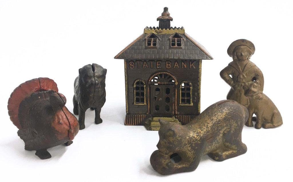 5 ANTIQUE CAST IRON STILL BANKS INC. BUSTER BROWN,