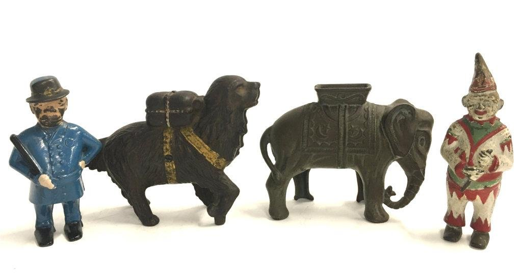 4 ANTIQUE CAST IRON STILL BANKS INC. CLOWN, ELEPHANT,