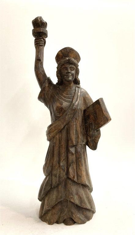"""FOLK ART CARVED WOODEN STATUE OF LIBERTY 25"""" TALL 25"""""""