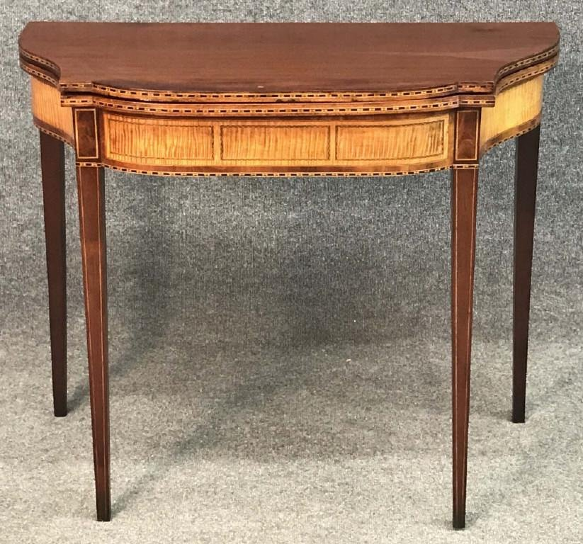 HEPPLEWHITE CARD TABLE W/ FIGURED MAPLE APRONS & INLAYS