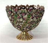 """14KT GOLD GEORGIAN PAVE JEWELED EGG CUP 2 1/2"""" TALL 2"""