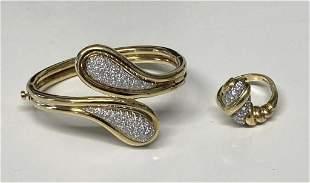 14KT YELLOW GOLD & DIAMOND BANGLE BRACELET & RING
