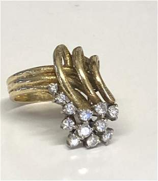 14 KT YELLOW GOLD & DIAMOND COCKTAIL RING APPROX. 8.9