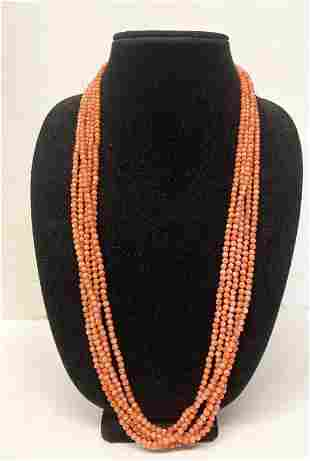 """5 STRAND 30"""" CORAL NECKLACE WITH SILVER CLASP"""