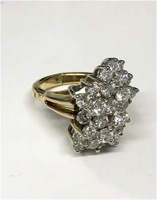 DIAMOND WATERFALL RING SET IN 14 KT YELLOW GOLD APPROX.