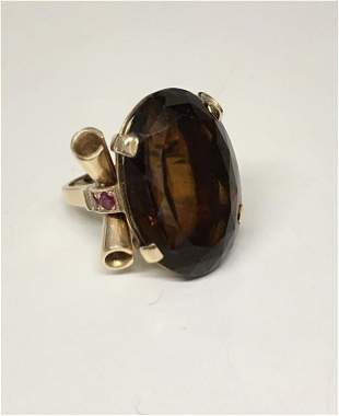 C. 1930'S LARGE CITRINE LADIES RING WITH RUBIES 14KT