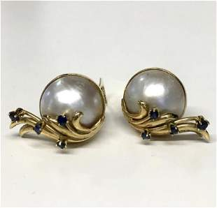 PAIR OF MOBE PEARL & SAPPHIRE EAR CLIPS 14KT GOLD