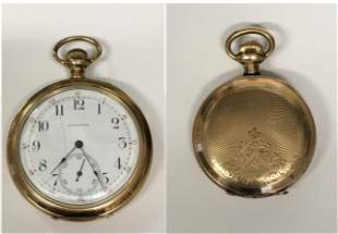 TWO 14 KT GOLD POCKET WATCHES, WALTHAM, MA & ELGIN 14KT