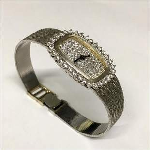 14KT WHITE GOLD & DIAMOND WRIST WATCH PAVE DIAMOND FACE