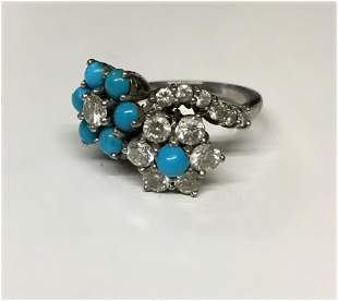 TURQUOISE & DIAMOND RING IN 18KT WHITE GOLD ACID TESTED
