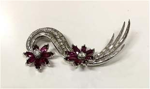 DIAMOND & RUBY BROOCH IN 18KT WHITE GOLD ACID TESTED