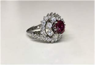 DIAMOND & RUBY BEEHIVE COCKTAIL RING IN 18KT WHITE GOLD
