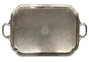 STERLING SILVER BUTLERS TRAY WITH ARMORIAL INSCRIPTION