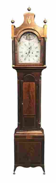 INLAID LATE 18THC. TALL CASE CLOCK ROCKING SHIP