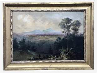 "OIL / CANVAS ""VIEW OF MOUNT MARCY"" SGND WITH MONOGRAM,"