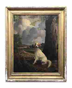 AMERICAN SCHOOL PORTRAIT OF A PRIZE SPANIEL IN A
