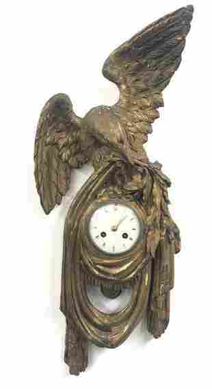 "GILTWOOD EAGLE WALL CLOCK, 24 3/4"" X 10 1/2"""