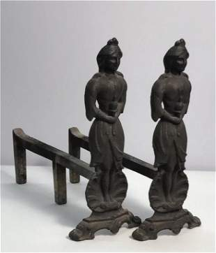 """PAIR OF CAST IRON FIGURAL """"LADY LIBERTY"""" ANDIRONS 17"""