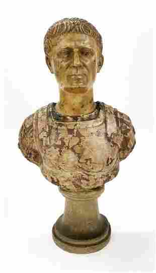 MARBLE BUST OF A ROMAN EMPEROR SIENNA MARBLE HEAD &