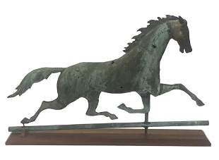 RUNNING HORSE WEATHERVANE, WITH CAST HEAD IN GREEN