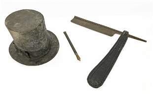 "10TH ANNIVERSARY TIN TOP HAT & STRAIGHT RAZOR HAT 12"" X"