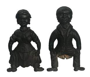 """PAIR OF 19THC. FIGURAL ANDIRONS CAST IRON 16"""" TALL X"""