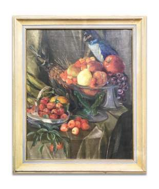 "STILL LIFE ""FRUIT & PARROT"" OIL / CANVAS, UNSIGNED 27"""