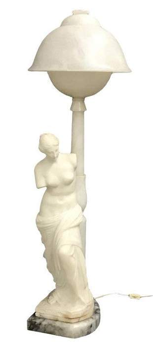 GRAND TOUR ALABASTER & MARBLE FIGURE OF VENUS LAMP C.