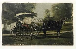 """HORSE AND BUGGY"""" OIL / BOARD SIGNED INDISTINCTLY 4 1/4"""""""