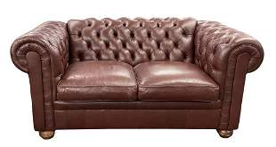 """LEATHER CHESTERFIELD SOFA, 31"""" T X 69"""" L X 38"""" D"""