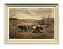 "COWS GRAZING"" THOMAS BIGELOW CRAIG, OIL/CANVAS 24"" X 34"