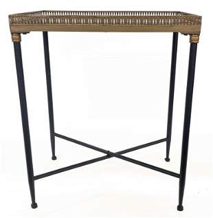 """MARBLE & METAL SIDE TABLE WITH GALLERY TOP 25"""" X 21"""" X"""