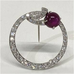 VINTAGE DIAMOND & NATURAL STAR RUBY BROOCH SET IN
