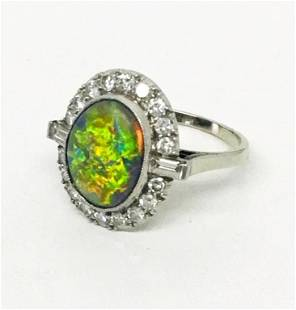 3.6 CT BLACK OPAL RING SET WITH 20 DIAMONDS IN 14KT