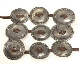 NINE OLD PAWN CONCHO BELT MEDALLIONS APPROX. 13.7 TROY